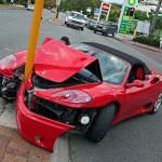 Crashed Ferrari single vehicle