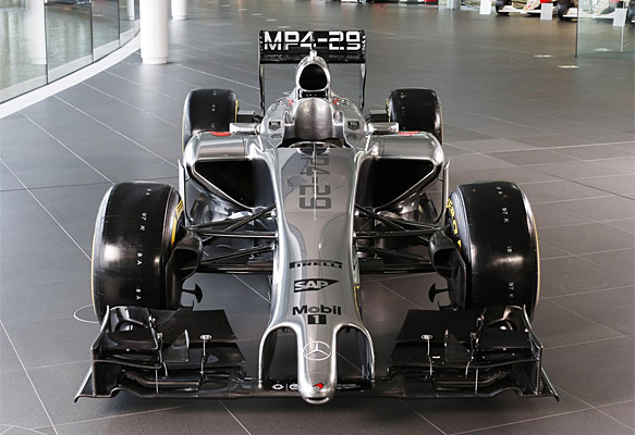 The new McLaren 2014 F1 car and its distinctive 'gentleman sausage nostril'. I think we all need a distraction