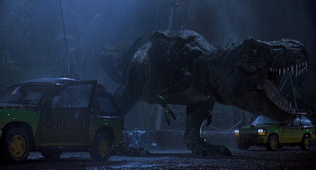 The T-Rex looks angry, maybe she is against the size of the carbon footprint those 4x4s are leaving...