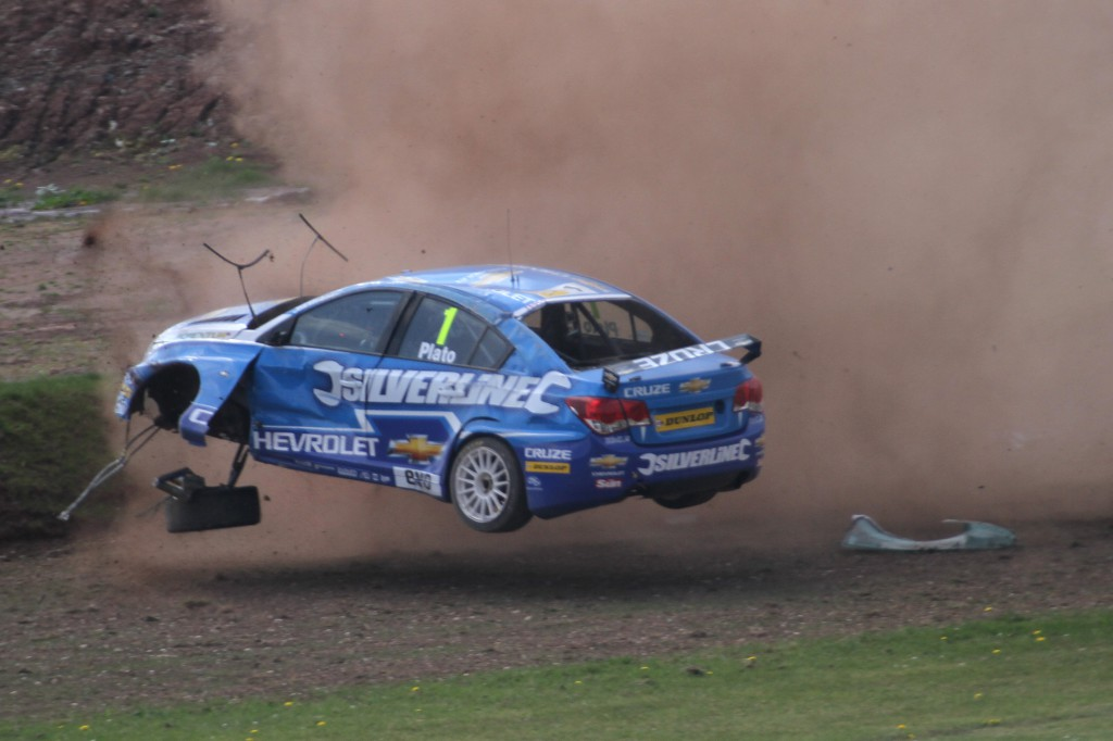 And Jason Plato is flying... literally. Photo Credit: BTCC.net