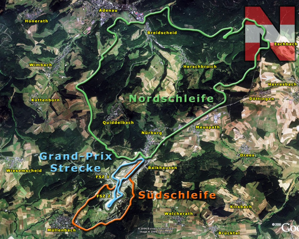 The Nurburgring Complex includes both the old Nordschleife circuit as well as the modern F1 track. Look at the size of that!