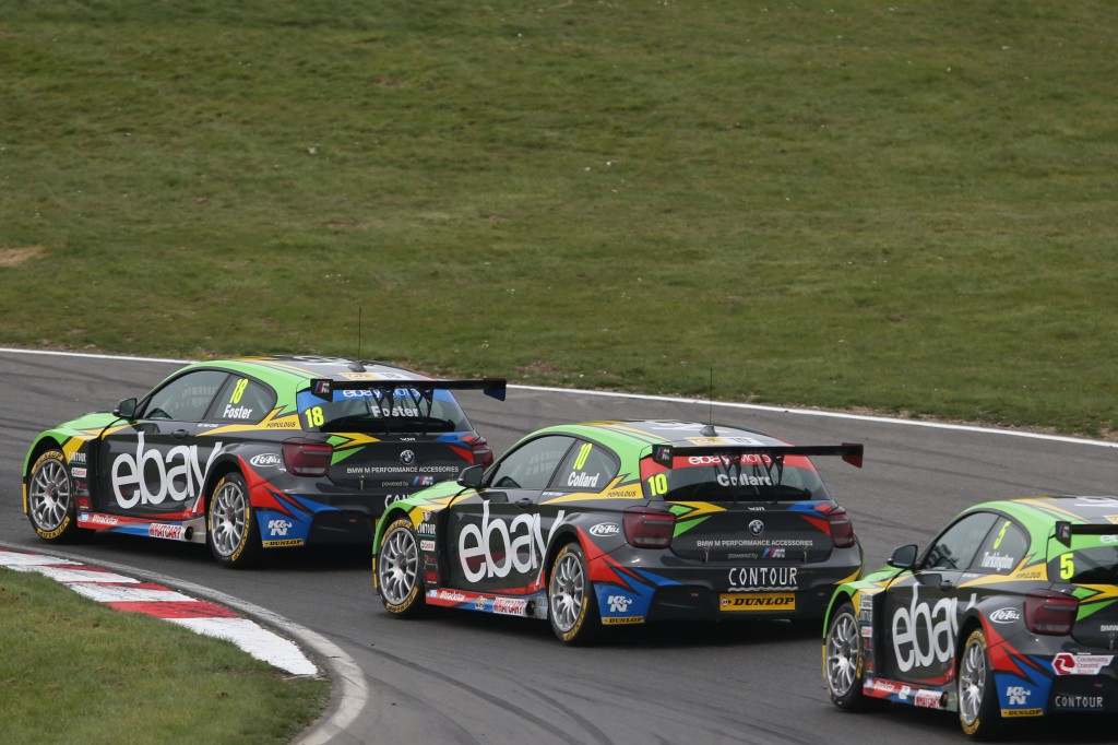 Formation flying: the eBay motors BMWs proved they have the performance to challenge for the title this year. Image Credit: BTCC.net