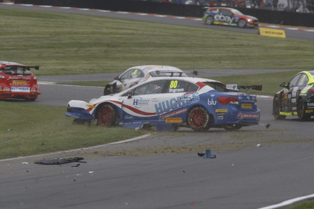The car hitting the wall, is a Toyota! Ingram suffered an unfortunate crash in race 3. Image Credit: BTCC.net