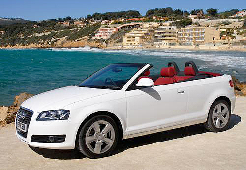 With the top open, the Audi A3 Cabriolet's snazzy seats can be seen easily.
