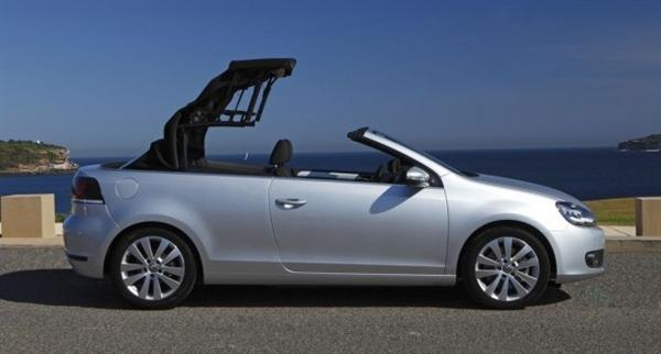 In nine seconds the Vokswagen Golf Cabriolet folds away the roof to become a great open top tourer.