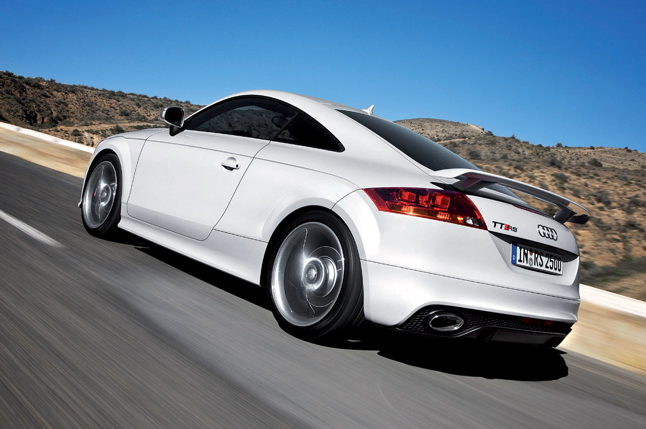 High speed down the motorway in a white Audi TTRS.