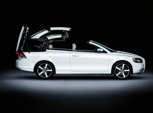 The hard top of the Volvo C70 folds away at the touch of a button in just 30 seconds.