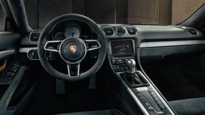 Overseas model of Porsche Cayman GT4 shown.