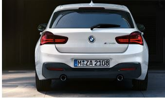 Rear view of 2017 BMW 1-series petrol M140i.