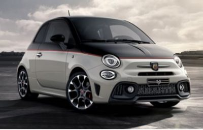 Black and white Abarth 595 Competizione hatchback