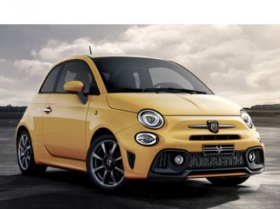 The Abarth 595 in Modena Yellow.