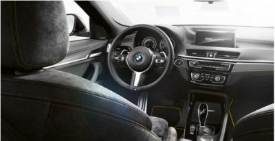 Interior of the BMW X2 SUV.